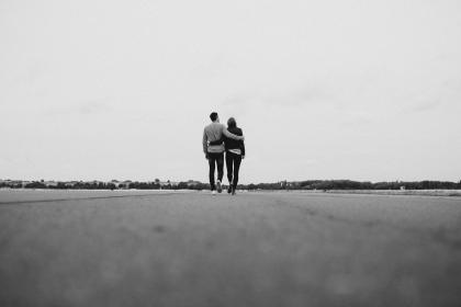 road, field, people, couple, walking, outdoor, hug, love, black and white, travel