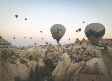 hot air balloons, Cappadocia, Turkey, rocks, cliffs, valleys