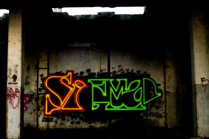 graffiti, art, neon, wall, spray paint