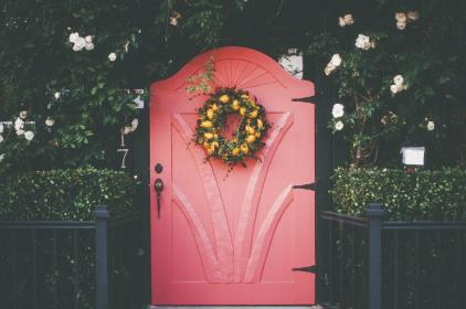 pink, red, door, wreath, flowers, plants, bushes, railing, entrance, house