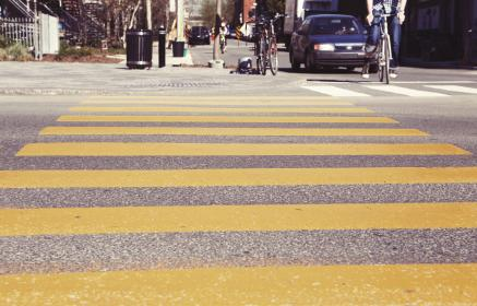 crosswalk, crossing, streets, roads, bikes, bicycles, pedestrians, cars, city