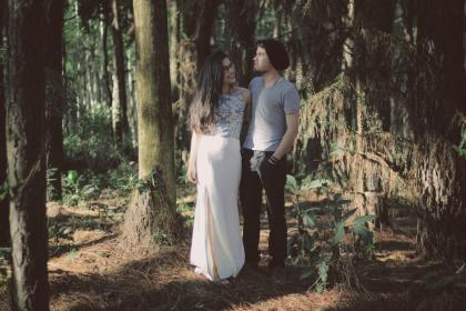 people, man, woman, guy, girl, couple, smile, happy, love, hug, outdoor, forest, tree, plant, sunny, sunlight, summer