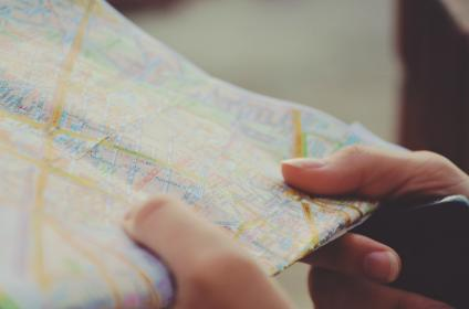 hands, nails, map, travel, directions, guide