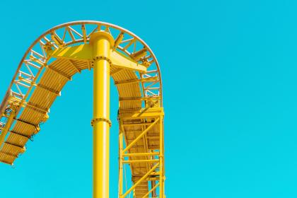 still, rides, themed, park, roller coaster, steel, industrial, yellow, lines, patterns, sky, blue
