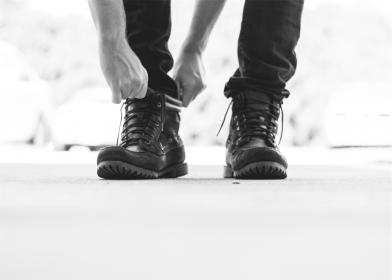 boots, laces, hands, jeans, denim, fashion, black and white