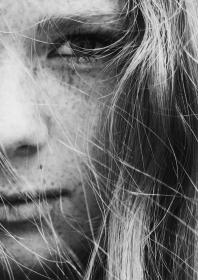black and white, people, girl, hair, lips, nose, eye, face, skin spots