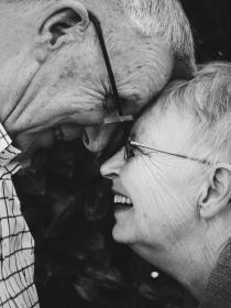 people, old, man, woman, couple, love, laugh, happy, black and white