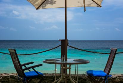 patio, chairs, table, umbrella, beach, sand, ocean, sea, tropical, sky, paradise