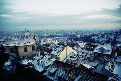 sky, cold, winter, snow, city, rooftops, buildings, view