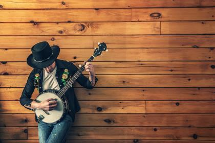 banjo, music, instrument, jeans, hat, wood, paneling