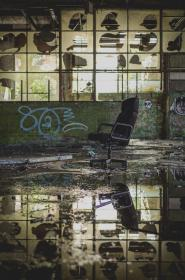 chair, reflection, water, flood, abandoned, building, glass, dirty, old, vandalism, wall, glass, windows