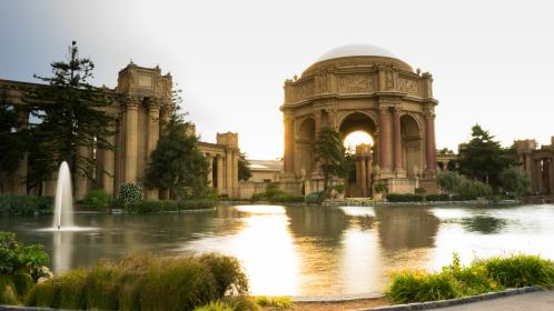 architecture, buildings, historic, site, fountains, water, grass, landscaping, sky, clouds, palace of fine arts, san francisco, marina district, california