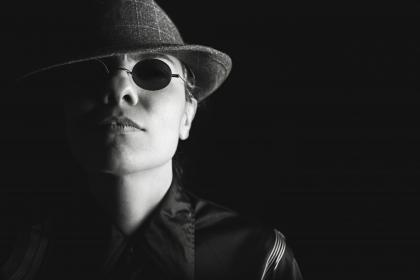 man, guy, sunglasses, hat, fedora, face, black and white, people