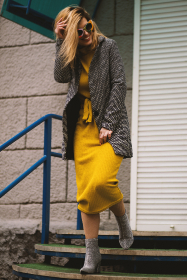 female,  model,  dress,  yellow,  sunglasses,  fun,  smile,  boots,  steps,  girl,  woman,  longhair