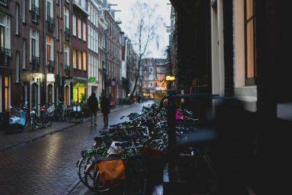 architecture, building, infrastructure, bike, bicycle, street, people, couple, man, woman, walking