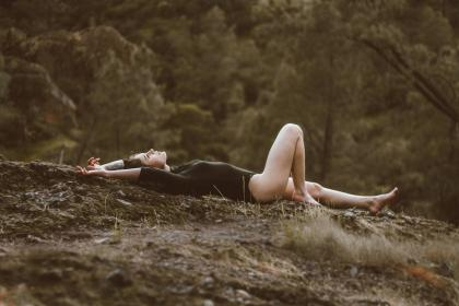 trees, plants, highland, grass, landscape, outdoor, people, girl, sexy, model