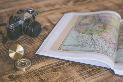 book, map, geography, compass, travel, camera, photography, blur, wooden, table