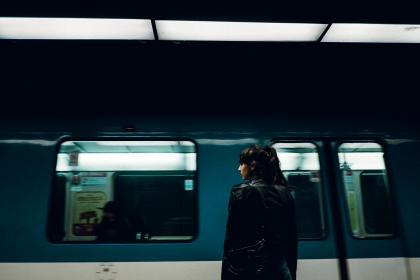 train, station, railway, passengers, people, waiting, travel, trip, transportation, girl, standing, alone