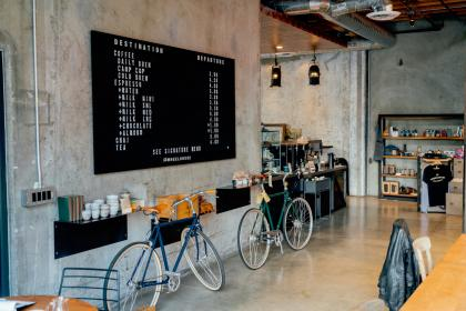places, restaurant, cafe, shop, interior, bicycles, coffeeshop