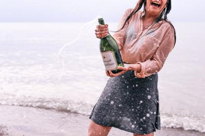 sea, ocean, water, waves, nature, horizon, seashore, coast, beach, white, sand, people, swimming, woman, girl, laugh, happy, sparkling, wine, bottle, alcoholic, drinks, beverage, outing