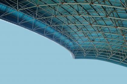 architecture, building, infrastructure, stadium, roof, ceiling, blue, sky