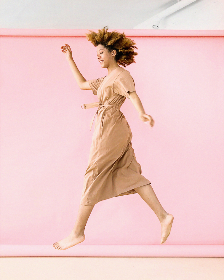 woman,  jumping,  pink,  background,  hair,  dress,  bare feet,  people,  girl pretty,  female,  elegant