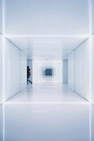 architecture, building, structure, establishment, symmetry, white, people, hallway
