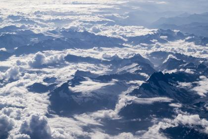 nature, landscape, mountains, summit, peaks, blanket, fog, sky, clouds, snow, aerial, white, blue