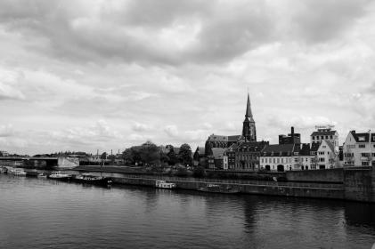 architecture, buildings, city, town, village, dock, pier, boats nature, water, canal, river, sky, clouds, black and white
