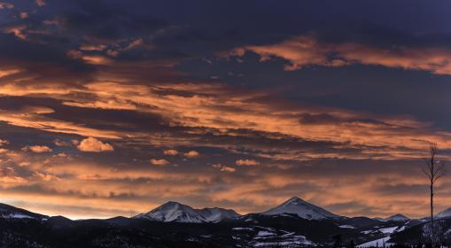 mountain, highland, snow, winter, landscape, view, nature, clouds, sky, sunset