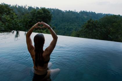 people, girl, woman, alone, meditation, swimming, pool, summer, vacation, relax, trees, plant, nature, view