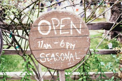 open, sign, seasonal, wood, branches