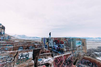 architecture, wall, art, painting, graffiti, blue, sky, cloud, people, alone, adventure,