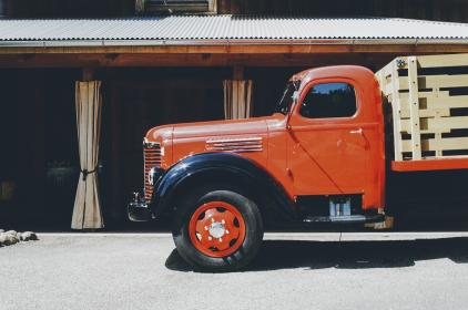 truck, orange, red, wheels, tires, cargo, transport