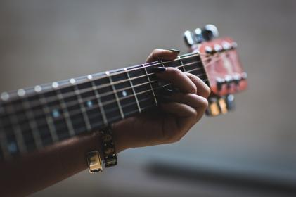 people, woman, hand, manicure, guitar, chords