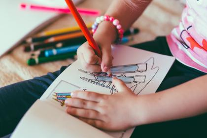 kid, child, baby, colored pencil, color, drawing book, hands, bracelet, art, school