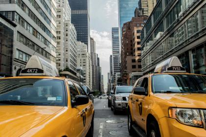 yellow, taxis, street, road, traffic, new york, city, buildings, cars