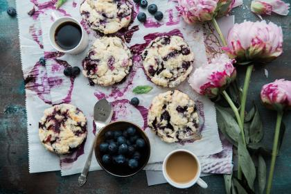 food, blueberry, cookie, chips, coffee, espresso, flower, plant, pastry, sweets, desserts, snacks