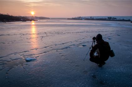 photographer, photography, sunset, camera, winter, freezing, frozen, ice, cold, people