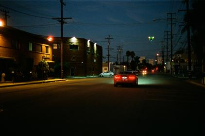 red, car, lights, dark, street, power lines, road, night, evening