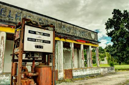 gas station, service station, pump, rust, abandoned, old
