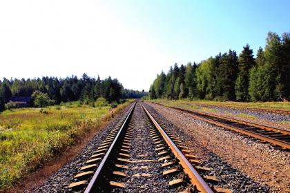 blue, sky, green, trees, forest, train tracks, railroad, pebbles, stones, dirt
