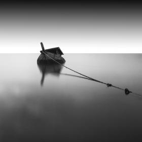 boat, rope, wood, sea, ocean, sail, black and white, sky, clouds, nature
