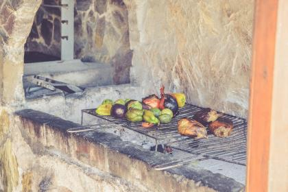 vegetables, vegetation, grill, kitchen, fireplace, wall