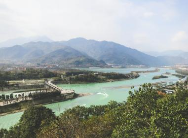 dams, Dujiangyan, Sichuan, China, water, landscape, mountains, hills, view, scenery