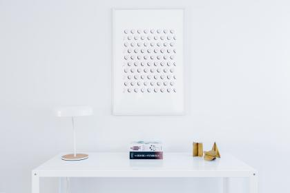 white, table, frames, lamp, aesthetic