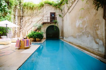 swimming, pool, blue, water, wall, room, stair, umbrella, bench, relax, towel, cloth, vacation, resort, green, plants