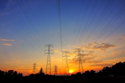 transmission, line, clouds, sky, trees, plant, sunset, dark, silhouette, electricity