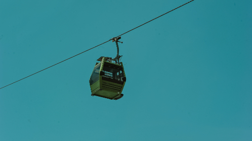 minimal,   cable car,   car,   cable,   aerial,   sky,   clear,   outdoors,   transport,   mountain