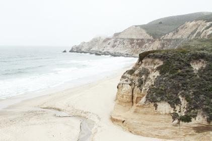 sea, ocean, water, waves, nature, white, sand, hill, cliff, nature, mountain, grass, trees, travel, beach, outdoor